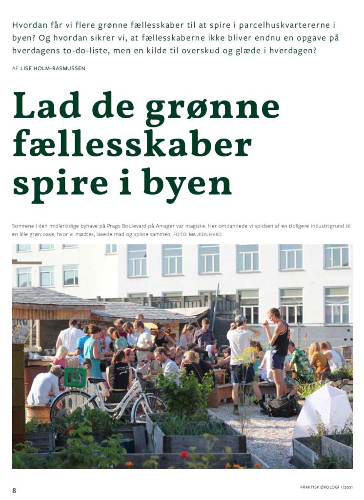 Billede af artikel om grønne fællesskaber i Praktisk Økologis medlemsblad
